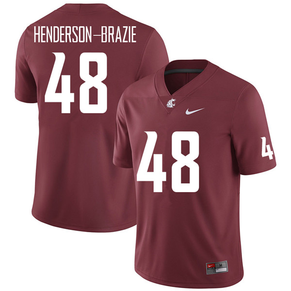 Men #48 Isaiah Henderson-Brazie Washington State Cougars College Football Jerseys Sale-Crimson