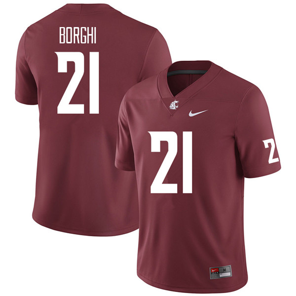 Men #21 Max Borghi Washington State Cougars College Football Jerseys Sale-Crimson