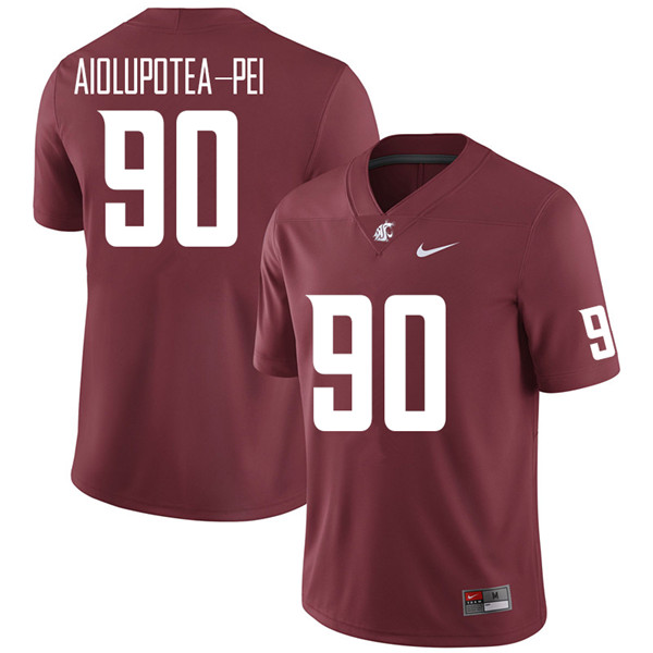 Men #90 Misiona Aiolupotea-Pei Washington State Cougars College Football Jerseys Sale-Crimson