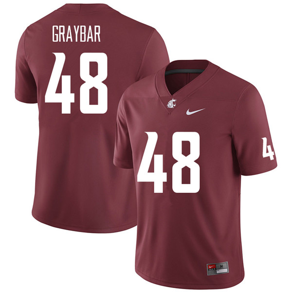 Men #48 Oliver Graybar Washington State Cougars College Football Jerseys Sale-Crimson