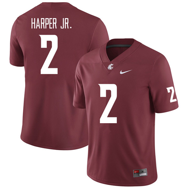 Men #2 Sean Harper Jr. Washington State Cougars College Football Jerseys Sale-Crimson