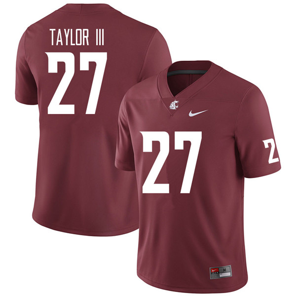 Men #27 Willie Taylor III Washington State Cougars College Football Jerseys Sale-Crimson