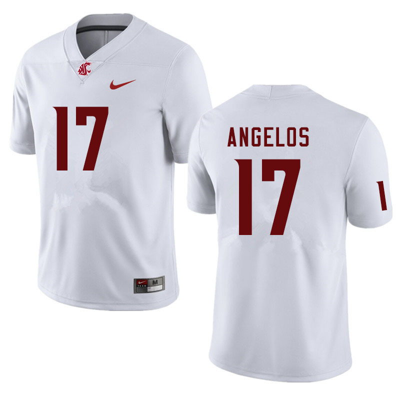 Men #17 Aaron Angelos Washington State Cougars College Football Jerseys Sale-White