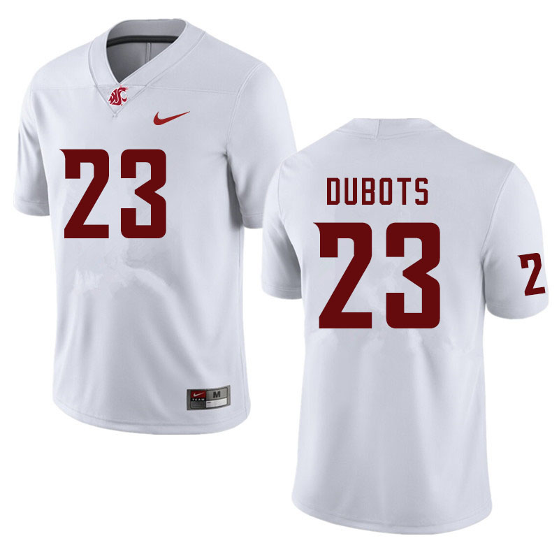 Men #23 Cole Dubots Washington State Cougars College Football Jerseys Sale-White