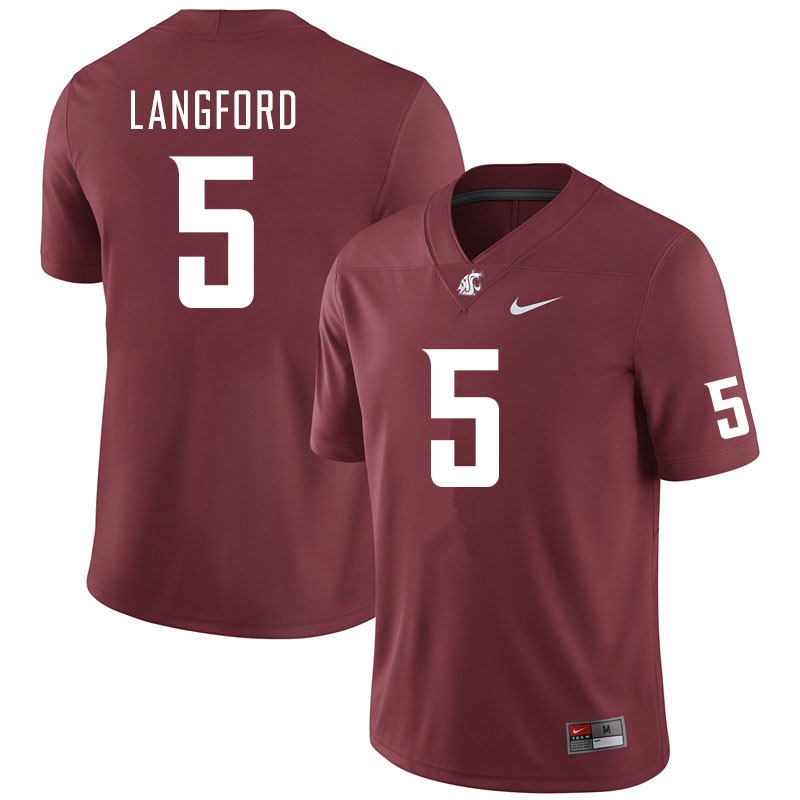 Men #5 Derrick Langford Washington State Cougars College Football Jerseys Sale-Crimson