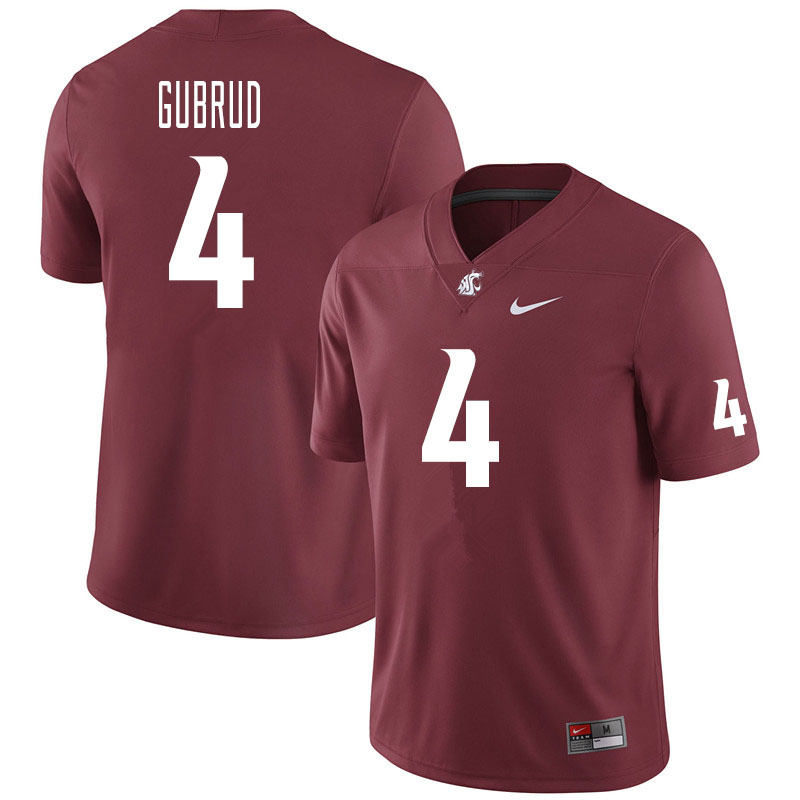 Men #4 Gage Gubrud Washington State Cougars College Football Jerseys Sale-Crimson