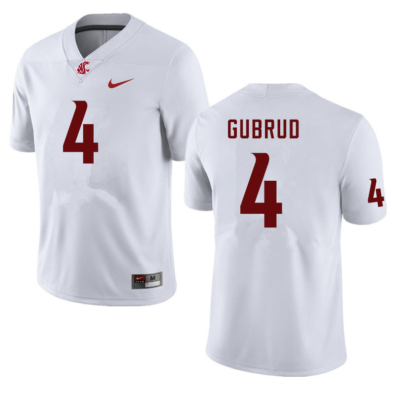 Men #4 Gage Gubrud Washington State Cougars College Football Jerseys Sale-White