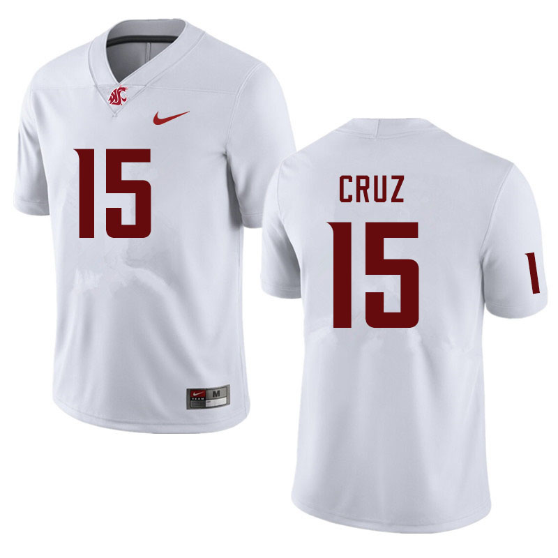 Men #15 Gunner Cruz Washington State Cougars College Football Jerseys Sale-White