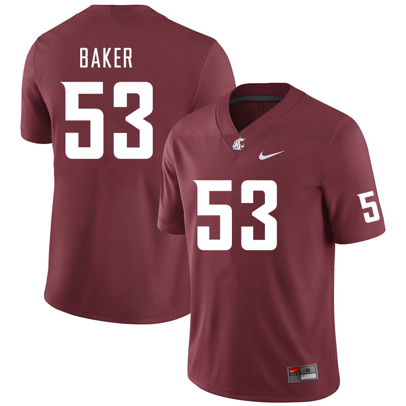 Men #53 Ricky Baker Washington State Cougars College Football Jerseys Sale-Crimson