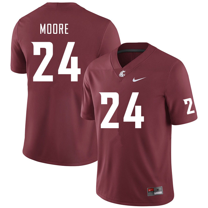 Men #24 Shahman Moore Washington State Cougars College Football Jerseys Sale-Crimson