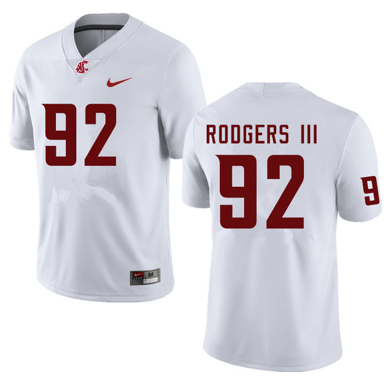 Men #92 Will Rodgers III Washington State Cougars College Football Jerseys Sale-White