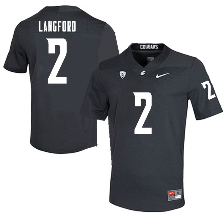 Men #2 Derrick Langford Washington State Cougars College Football Jerseys Sale-Charcoal