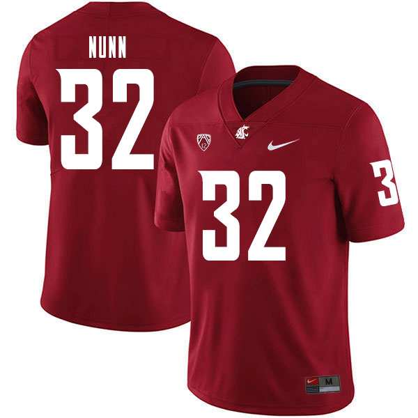 Men #32 Pat Nunn Washington State Cougars College Football Jerseys Sale-Crimson