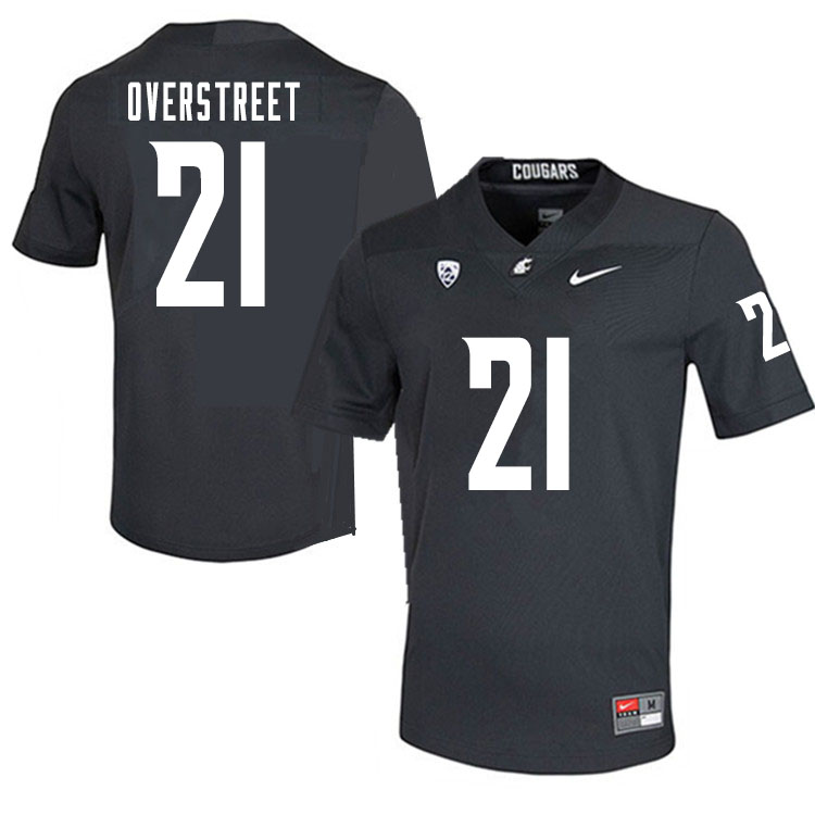 Men #21 William Overstreet Washington State Cougars College Football Jerseys Sale-Charcoal