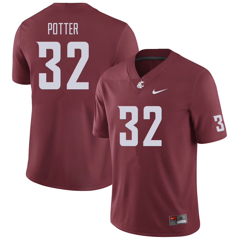 Men #32 Braeden Potter Washington State Cougars Football Jerseys Sale-Crimson