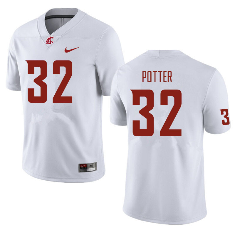 Men #32 Braeden Potter Washington State Cougars Football Jerseys Sale-White