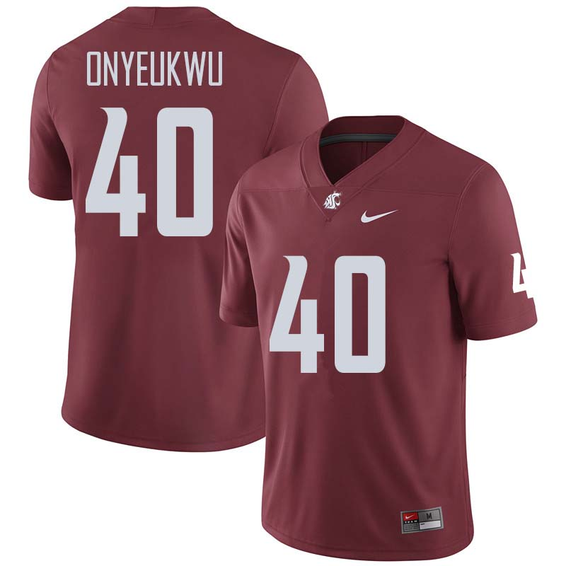 Men #40 Chima Onyeukwu Washington State Cougars College Football Jerseys Sale-Crimson