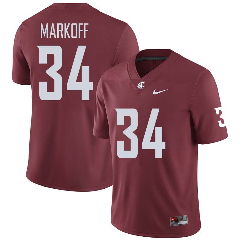 Men #34 Clay Markoff Washington State Cougars College Football Jerseys Sale-Crimson