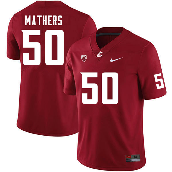 Men #50 Cooper Mathers Washington Cougars College Football Jerseys Sale-Crimson