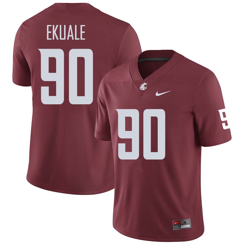 Men #90 Daniel Ekuale Washington State Cougars College Football Jerseys Sale-Crimson