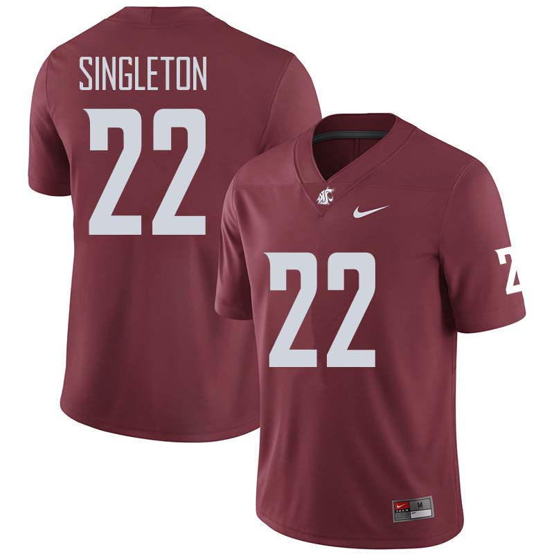 Men #22 Deion Singleton Washington State Cougars College Football Jerseys Sale-Crimson