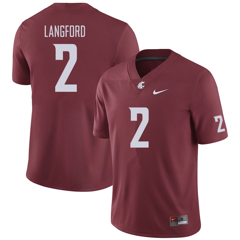 Men #2 Derrick Langford Washington State Cougars Football Jerseys Sale-Crimson