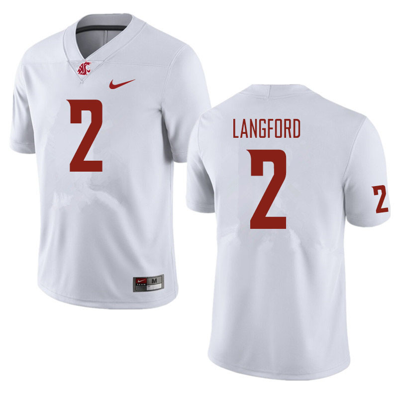 Men #2 Derrick Langford Washington State Cougars Football Jerseys Sale-White