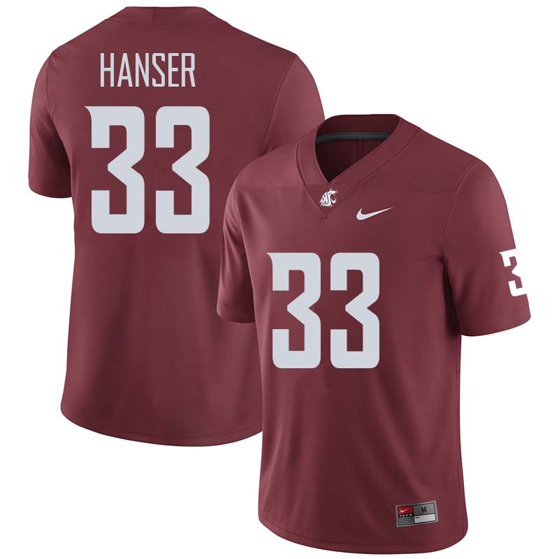 Men #33 Dylan Hanser Washington State Cougars College Football Jerseys Sale-Crimson