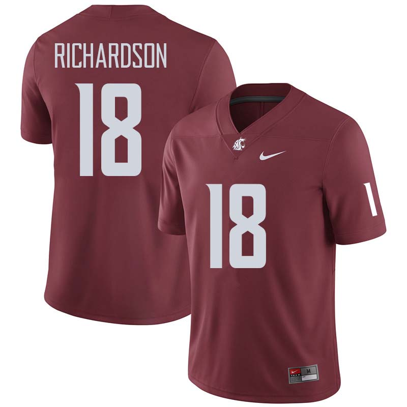 Men #18 Dymund Richardson Washington State Cougars College Football Jerseys Sale-Crimson