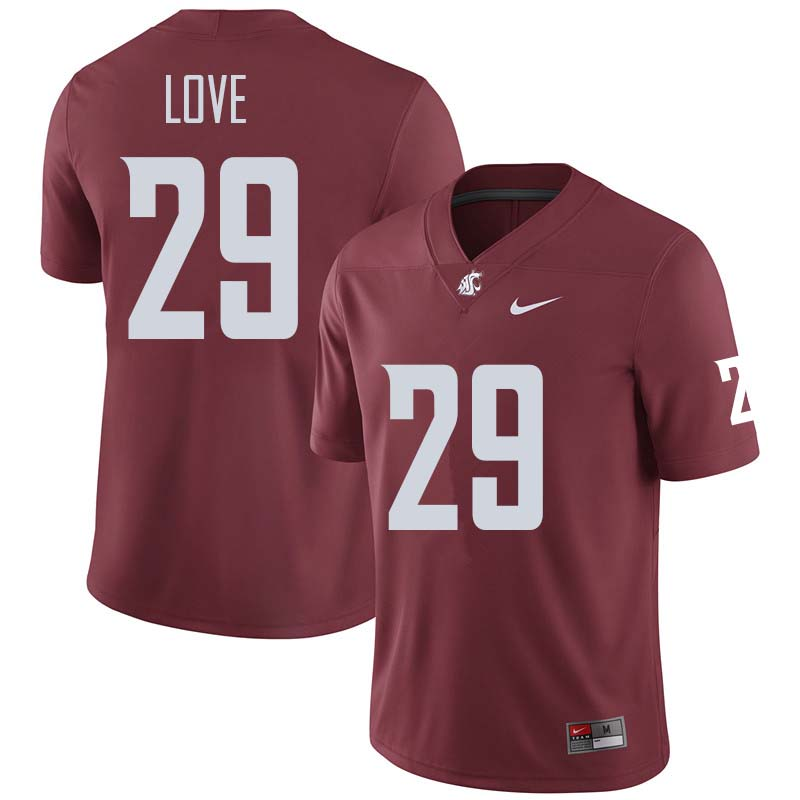 Men #29 Isaiah Love Washington State Cougars College Football Jerseys Sale-Crimson
