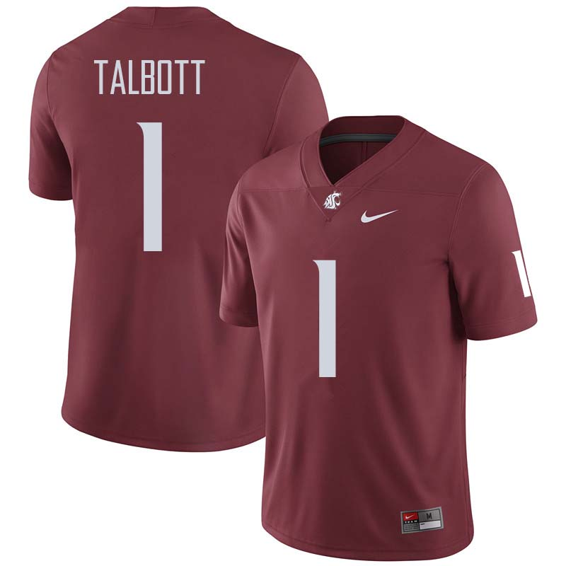 Men #1 Josh Talbott Washington State Cougars College Football Jerseys Sale-Crimson