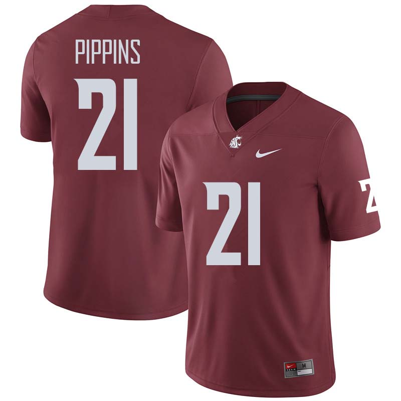 Men #21 Marcellus Pippins Washington State Cougars College Football Jerseys Sale-Crimson