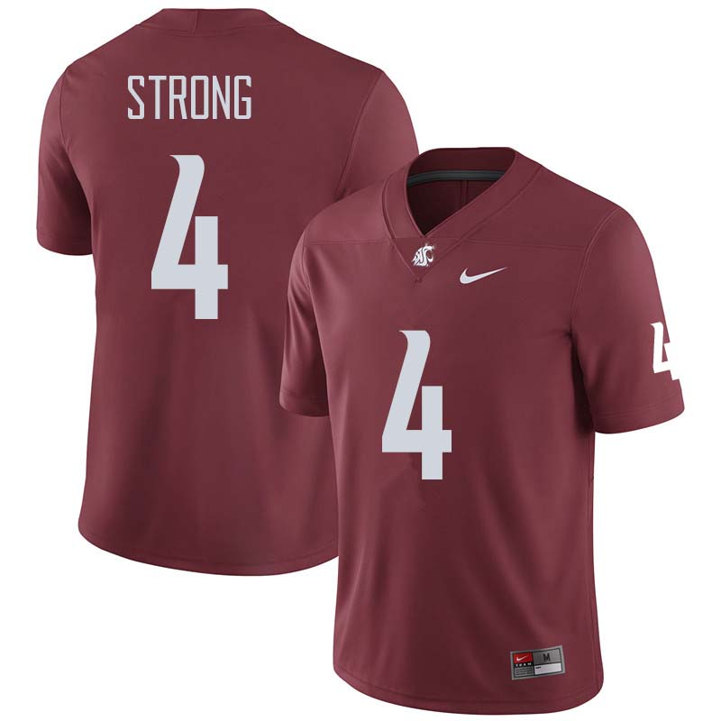 Men #4 Marcus Strong Washington State Cougars College Football Jerseys Sale-Crimson