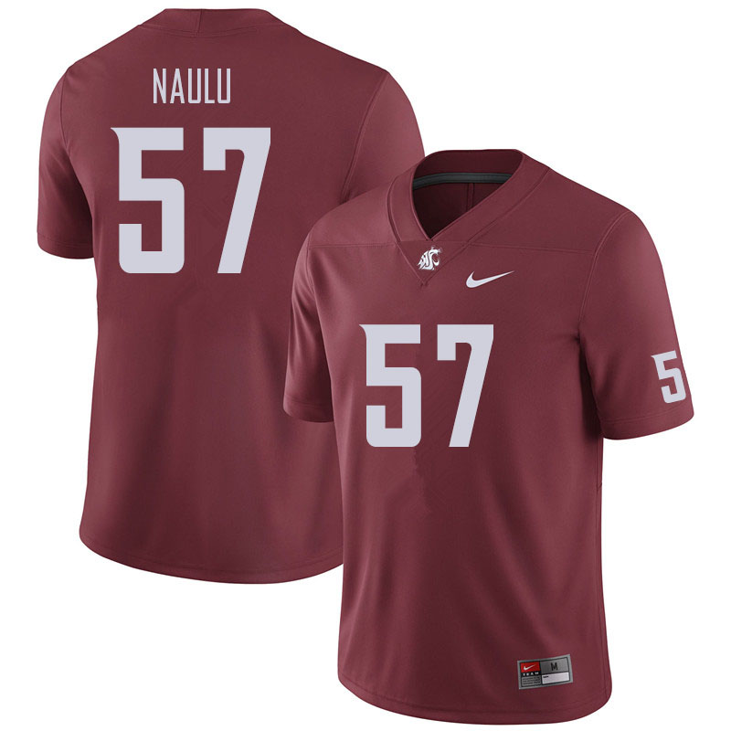 Men #57 Peni Naulu Washington State Cougars Football Jerseys Sale-Crimson