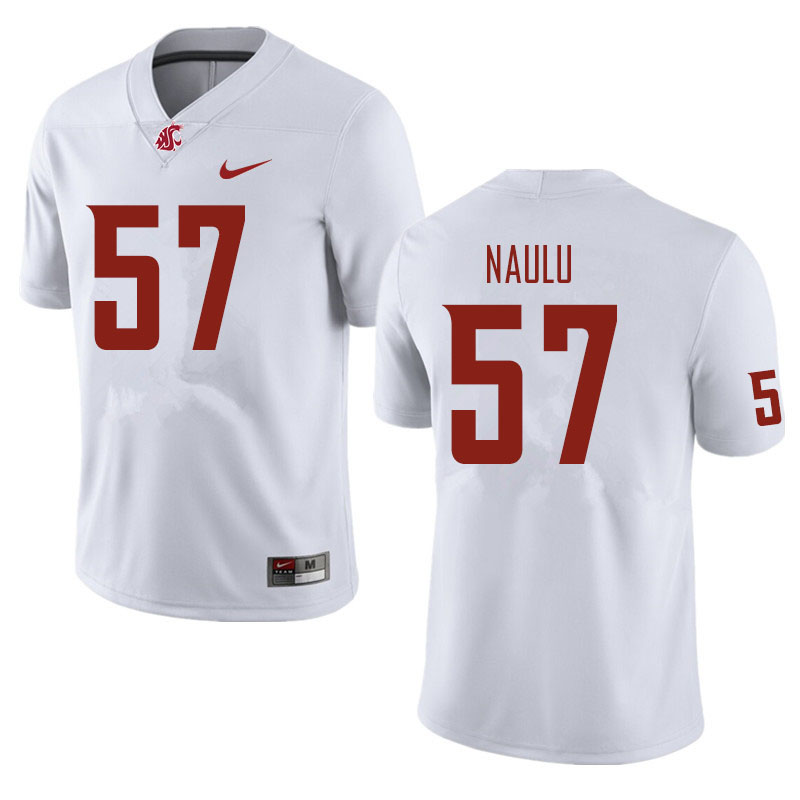Men #57 Peni Naulu Washington State Cougars Football Jerseys Sale-White