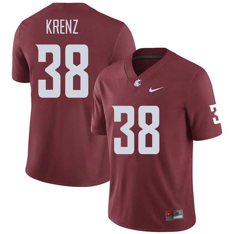 Men #38 Riley Krenz Washington State Cougars College Football Jerseys Sale-Crimson