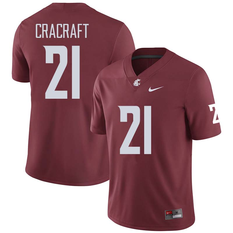 Men #21 River Cracraft Washington State Cougars College Football Jerseys Sale-Crimson