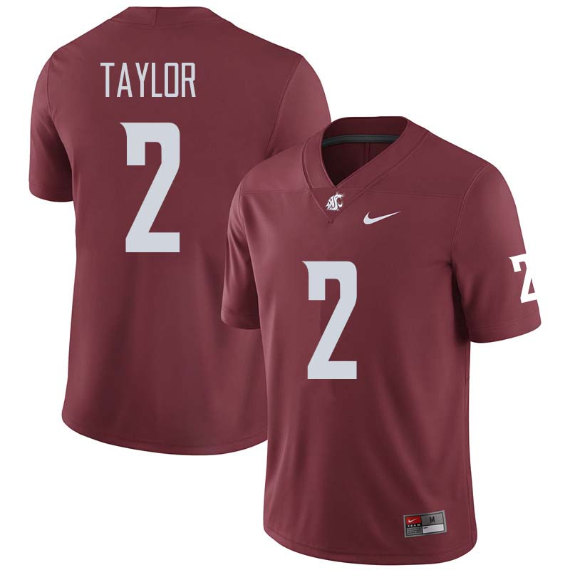 Men #2 Robert Taylor Washington State Cougars College Football Jerseys Sale-Crimson