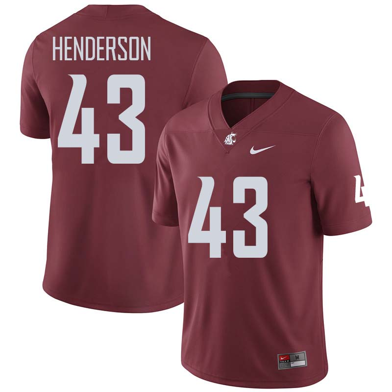 Men #43 Ryan Henderson Washington State Cougars College Football Jerseys Sale-Crimson
