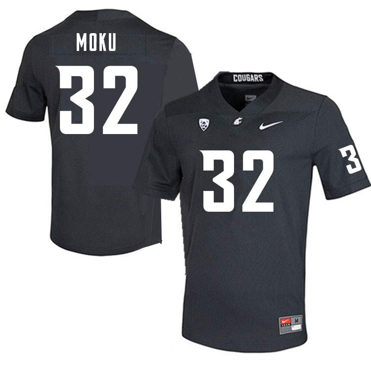 Men #32 Tanner Moku Washington Cougars College Football Jerseys Sale-Charcoal