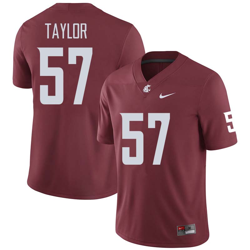 Men #57 Willie Taylor Washington State Cougars College Football Jerseys Sale-Crimson