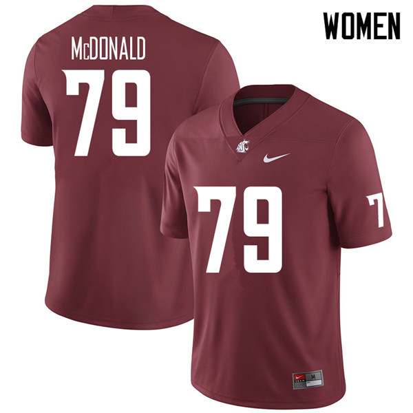 Women #79 Blake McDonald Washington State Cougars College Football Jerseys Sale-Crimson