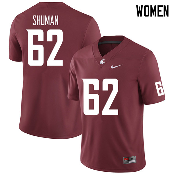 Women #62 Carson Shuman Washington State Cougars College Football Jerseys Sale-Crimson