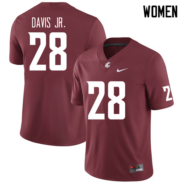 Women #28 Chad Davis Jr. Washington State Cougars College Football Jerseys Sale-Crimson