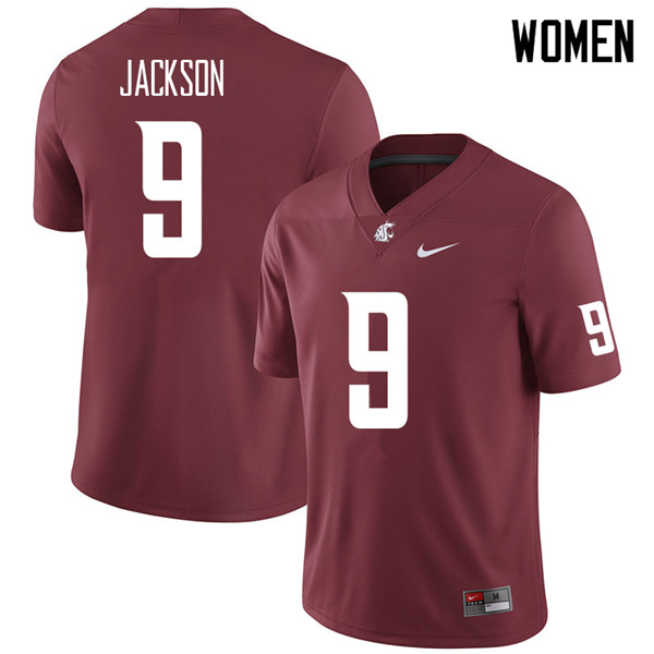 Women #9 Drue Jackson Washington State Cougars College Football Jerseys Sale-Crimson