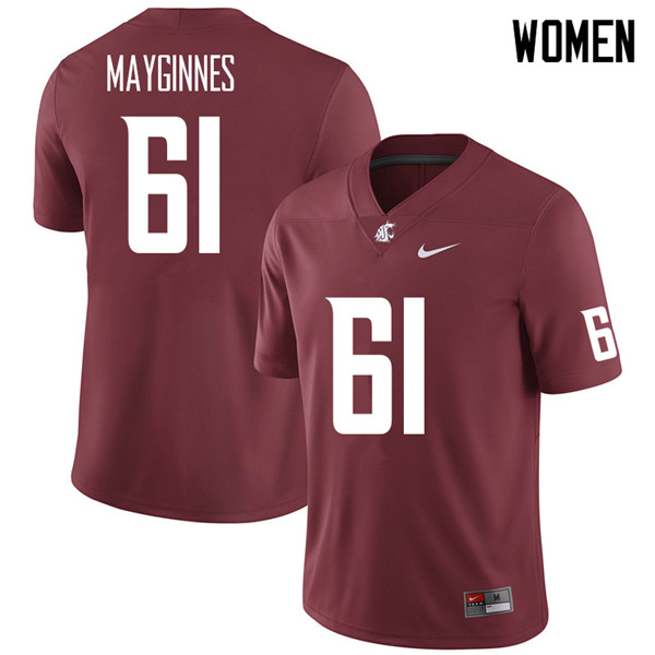 Women #61 Hunter Mayginnes Washington State Cougars College Football Jerseys Sale-Crimson
