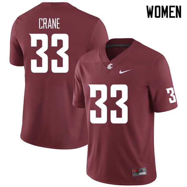 Women #33 Jack Crane Washington State Cougars College Football Jerseys Sale-Crimson