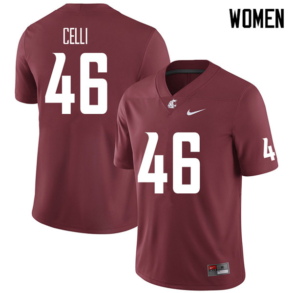 Women #46 Kyle Celli Washington State Cougars College Football Jerseys Sale-Crimson