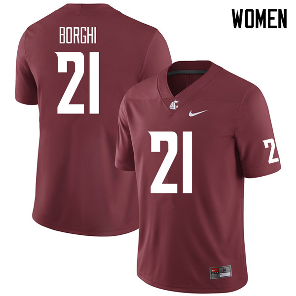 Women #21 Max Borghi Washington State Cougars College Football Jerseys Sale-Crimson