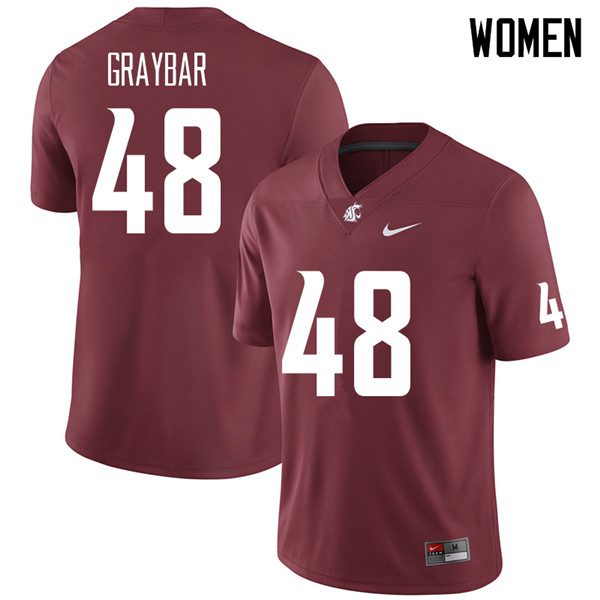 Women #48 Oliver Graybar Washington State Cougars College Football Jerseys Sale-Crimson